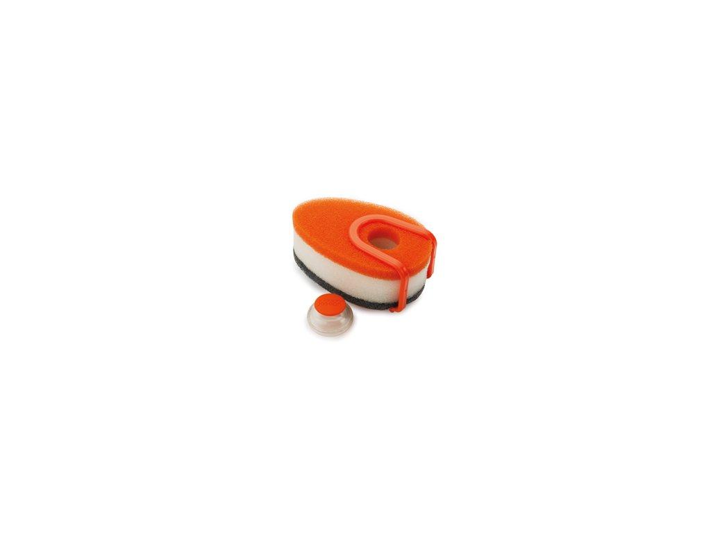 Sada hubiek s dávkovačom saponátu JOSEPH JOSEPH Soapy-Sponge ™, oranžová